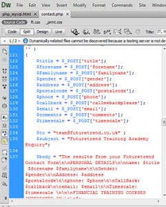 dreamweaver generated code